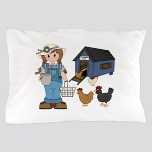 Farm Girl Chickens Pillow Case