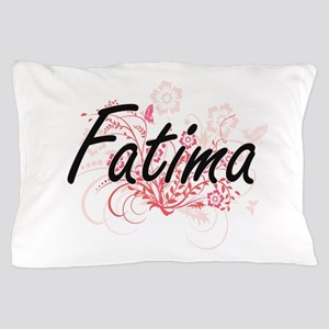 Fatima Artistic Name Design with Flowe Pillow Case