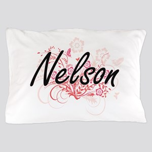 Nelson surname artistic design with Fl Pillow Case