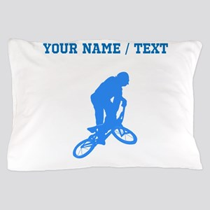 Custom Blue BMX Biker Silhouette Pillow Case