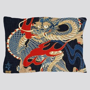 vintage japanese tattoo dragon Pillow Case