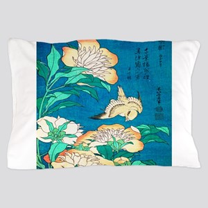 Peonies and Canary by Hokusai Pillow Case