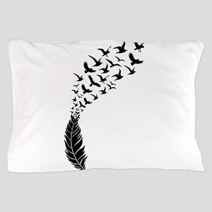 Black feather with birds Pillow Case