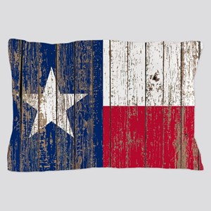 barn wood Texas Flag Pillow Case
