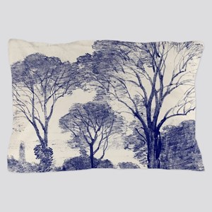 Ancient Tree Sketches in Indigo Pillow Case