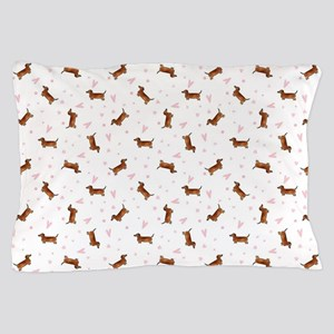 Dachshund Pattern - Hearts Pillow Case