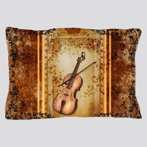 Wonderful violin on a frame Pillow Case