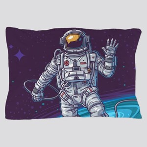 Astronaut in Space Illustration Pillow Case