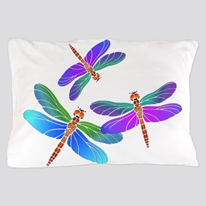 Dive Bombing Iridescent Dragonflies Pillow Case