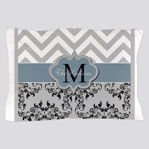 Monogram, Damask and Chevron Pillow Case