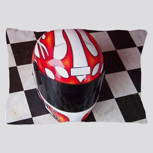Race Helmet on Checkered Flag Pillow Case