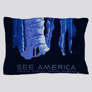 Caving Travel Cavern Vintage Travel Poster Pillow