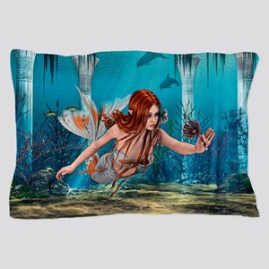 Mermaid holding Sea Lily Pillow Case