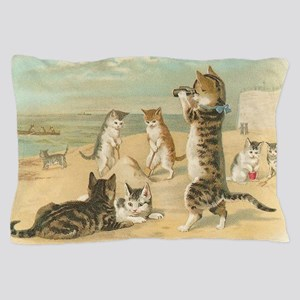 Cats at the Beach, Vintage Art Poster Pillow Case
