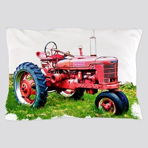 Red Tractor in the Grass Pillow Case