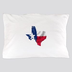 Texas Shape Flag Distressed Pillow Case