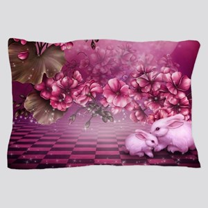 Pink Easter Rabbits Pillow Case