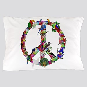 Colorful Birds Peace Sign Pillow Case