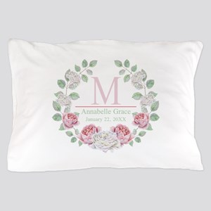 Baby Girl Floral Monogram Pillow Case