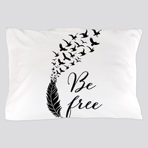 Be free, feather with flying birds Pillow Case