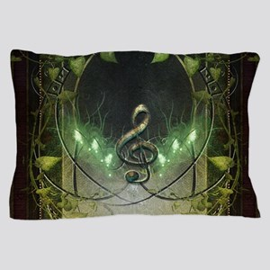 Music, clef on wonderful vintage background Pillow