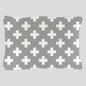 Grey Plus Sign Pattern Pillow Case
