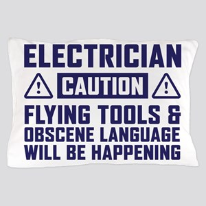 Caution Electrician Pillow Case