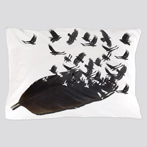 Flying Crow Feather Pillow Case