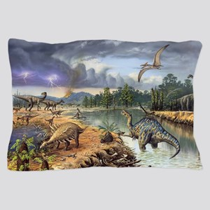 Early Cretaceous life, artwork Pillow Case