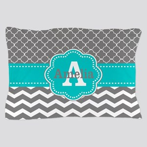 Gray Teal Quatrefoil Chevron Personalized Pillow C