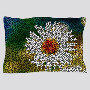 Stained Glass White Flower Pillow Case