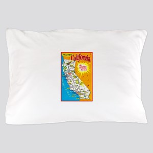 California Map Greetings Pillow Case