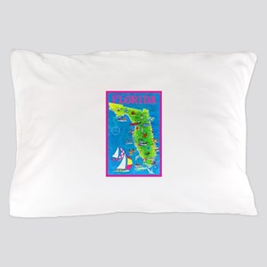Florida Map Greetings Pillow Case