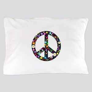 Hippie Flowery Peace Sign Pillow Case