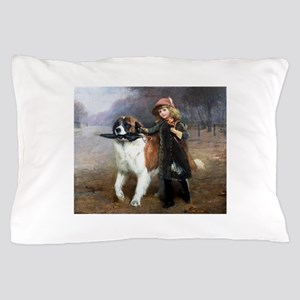 A Little Girl and Her Dog Pillow Case