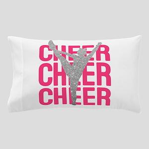 Pink Cheer Glitter Silhouette Pillow Case