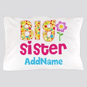 Big Sister Pink Teal Floral Personaliz Pillow Case