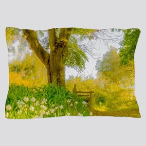 Golden Scene with Tree and Bench Pillow Case