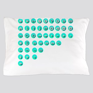 Turquoise Control Buttons Pillow Case