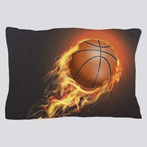 Flaming Basketball Pillow Case
