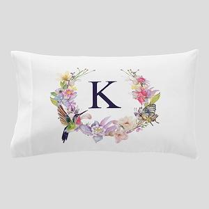 Hummingbird Floral Wreath Monogram Pillow Case
