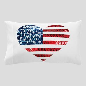 usa flag heart Pillow Case