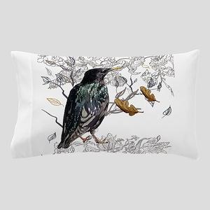 Leaves birds background set Pillow Case