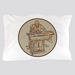Tailor Upholsterer Sewing Machine Drawing Pillow C