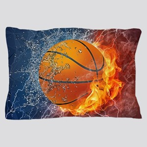 Flaming Basketball Ball Splash Pillow Case