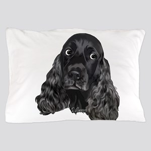 Cute Black Cocker Spaniel Portrait Print Pillow Ca
