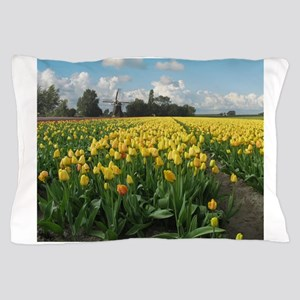 Windmill and Tulips Flowers Holland Pillow Case