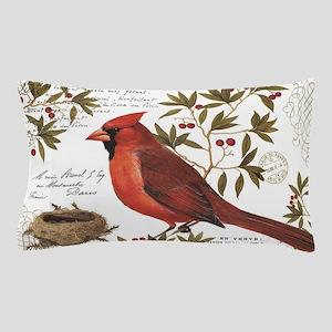 modern vintage winter woodland cardinal Pillow Cas