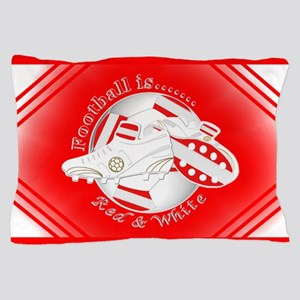 Red and White Football Soccer Pillow Case