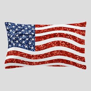 sequin american flag Pillow Case